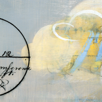 Detail of light-grey painting with 19th c. handwriting, geometry lessons and gesture.