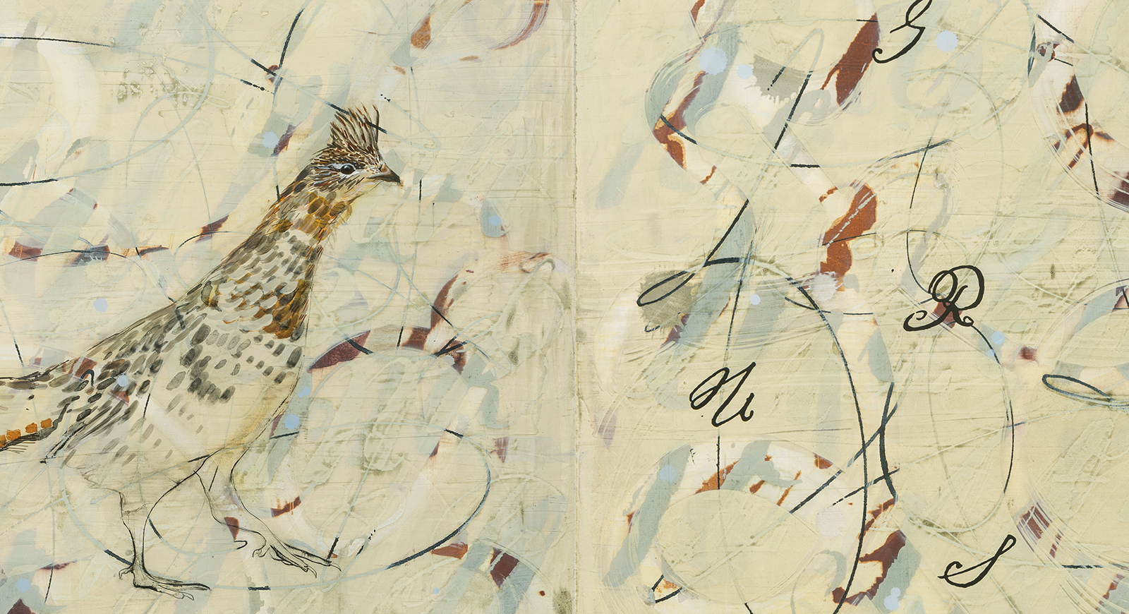 Off-white painting with 19th c. handwriting, gesture and ruffed grouse.
