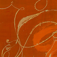Detail of orange painting with 19th c. handwriting, signatures and gesture.