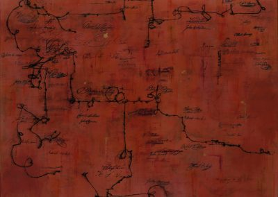 Deep-red painting with 19th c. handwriting, signatures and gesture..
